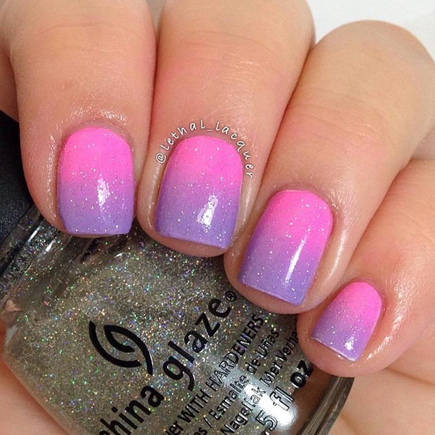Purple And Pink Grant Sparkly Nail Design
