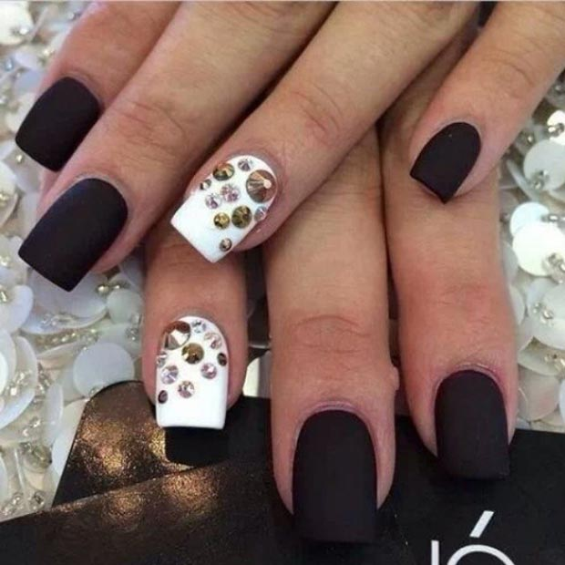 White Accent Nails With Rhinestones