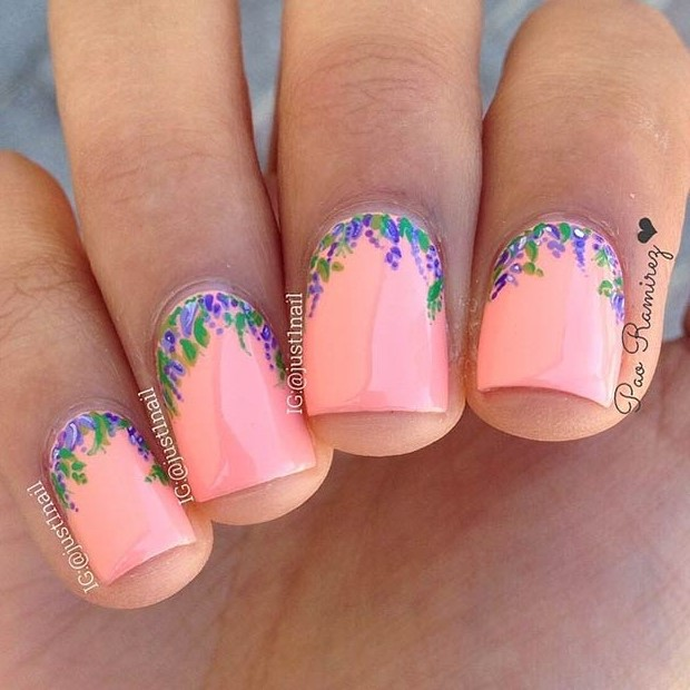 Red Dots Spring Flower Nail Art