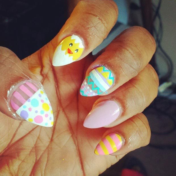 Easter Almond Nail Design