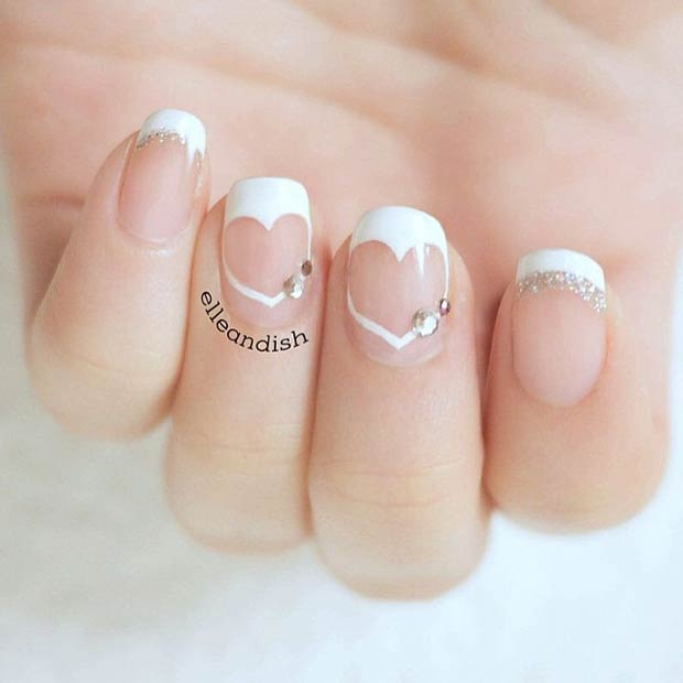 White Heart Valentines Day Nails