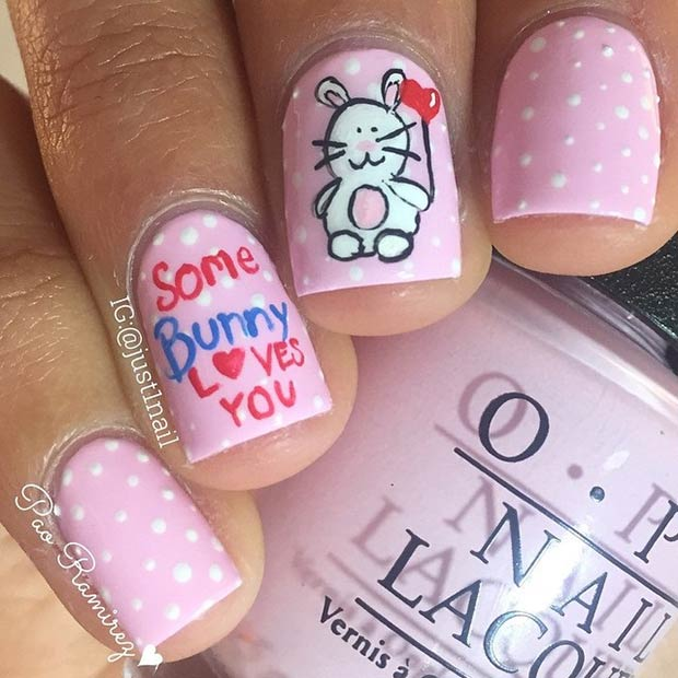 Cute Bunny Valentines Day Nails