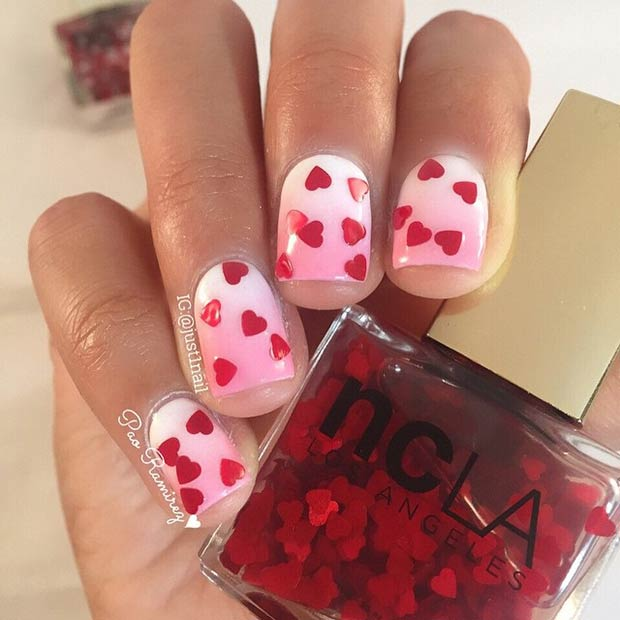 Pink and White Ombre Nails with Red Hearts