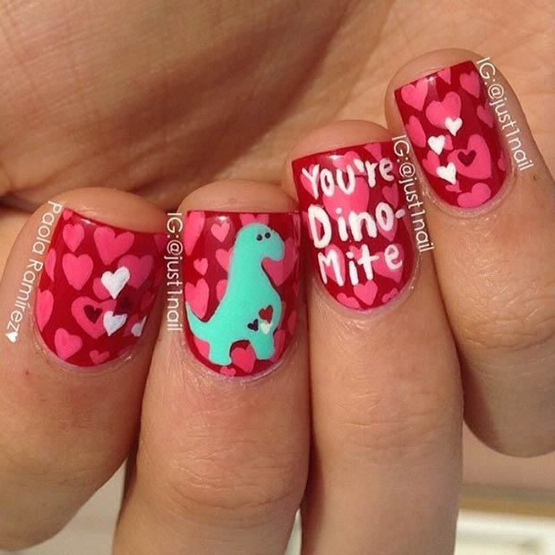 Cute Dinosaur Valentines Day Nails