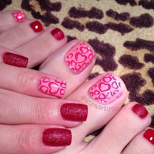 Pink and Red Valentines Day Pedicure