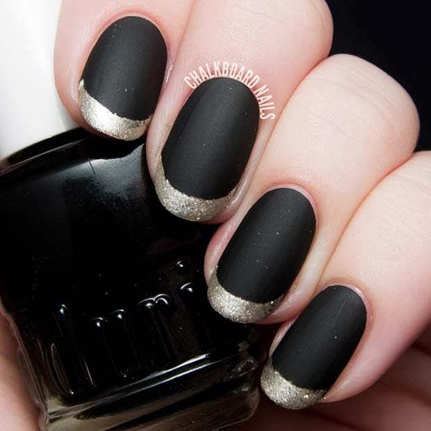 Black Matte Nails With Golden French Tips