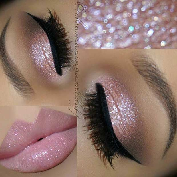 Pink Glitter Eyes Wedding Makeup Look