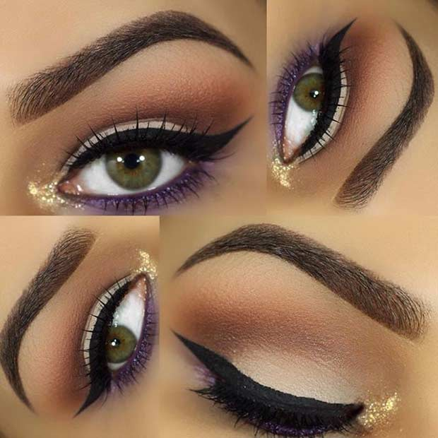 Gold and Purple Eye Makeup Look for Green Eyes