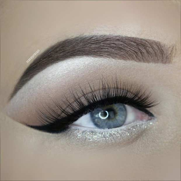 Silver Glitter Wedding Eye Makeup Look