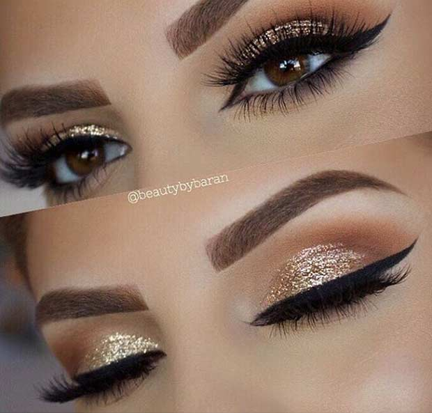 Gold Glitter Wedding Eye Makeup Look