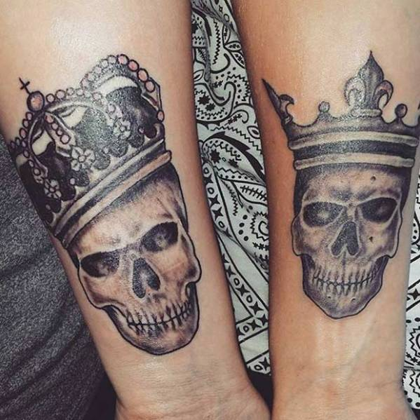 king and queen tattoos couples