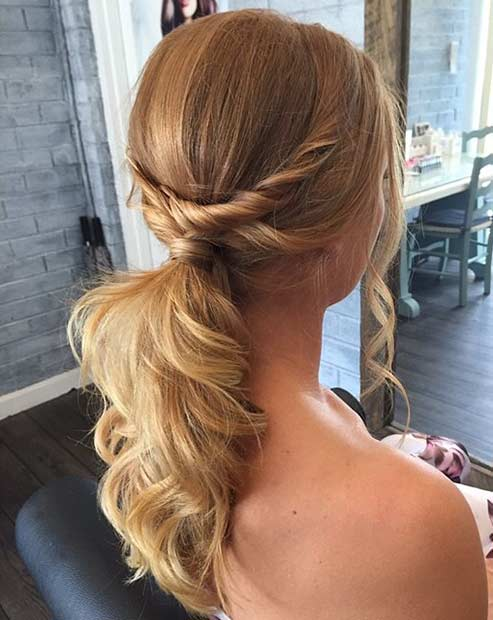 Twisted Messy Low Ponytail