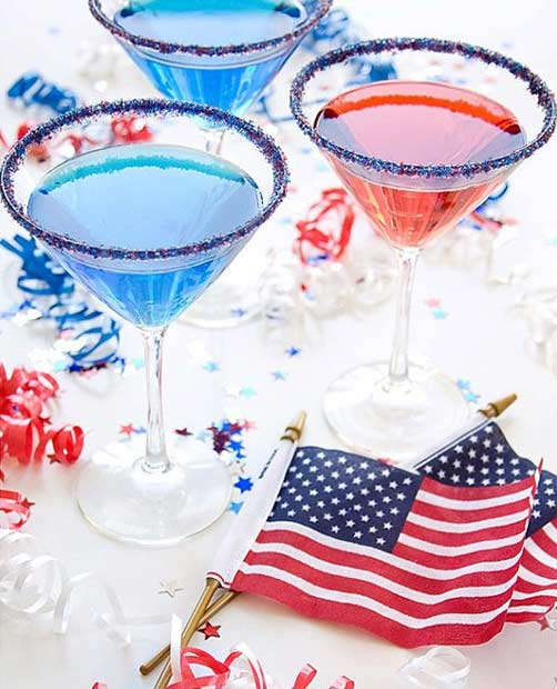 Blue and Red 4th of July Drinks
