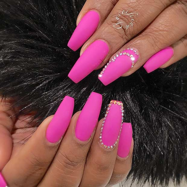 Pink Matte Coffin Nails with Rhinestones
