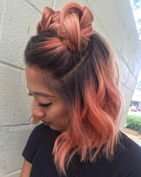 Peach Balayage Long Bob Hairstyle for Summer
