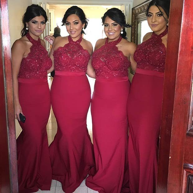 Long Lace Burgundy Dresses for Bridesmaids