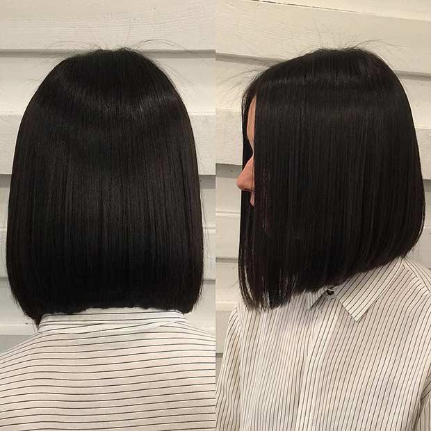 Straight Brunette Long Bob Haircut