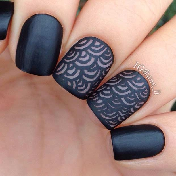 Black Matte Nail Art Design for Short Nails