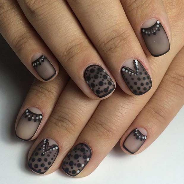 Black Lace Nail Design for Short Nails