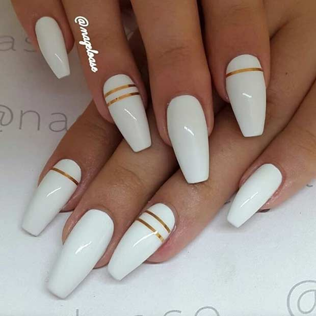 Long White Coffin Nails with Pop of Gold