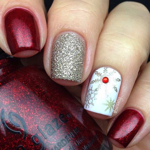 Red and Gold Snowflake Christmas Nails