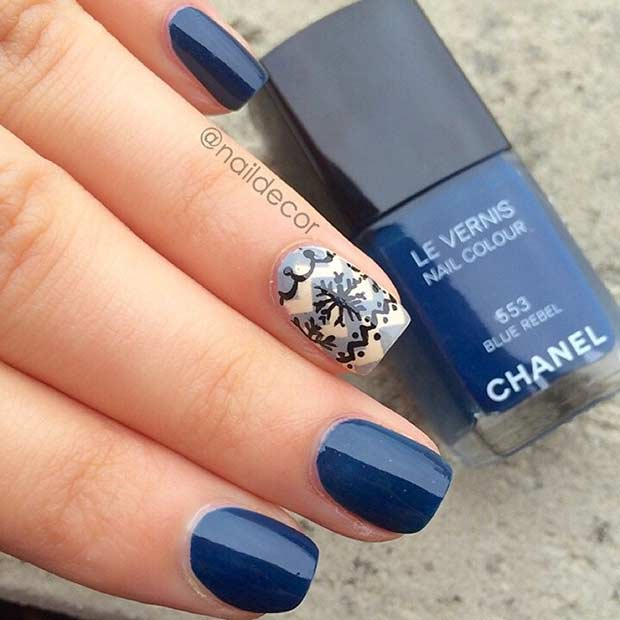 Navy Blue Snowflake Winter Nails