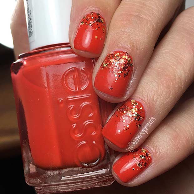 Red Ombre Glitter Nail Design for Short Nails