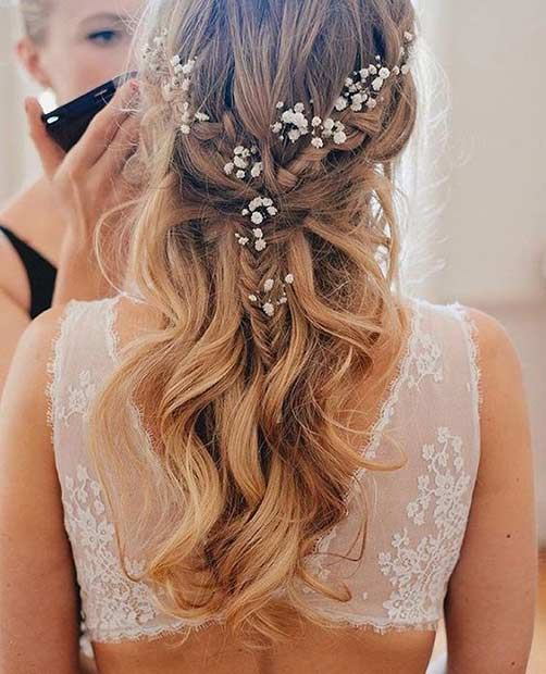 Simple Wavy Half Up Wedding Hairstyle