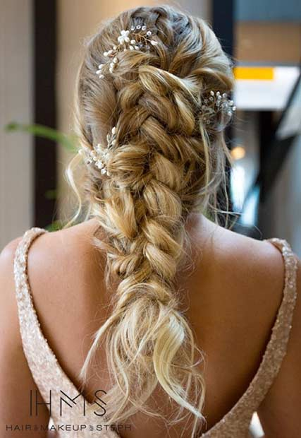Messy Braid Wedding Hairstyle with Hairpieces