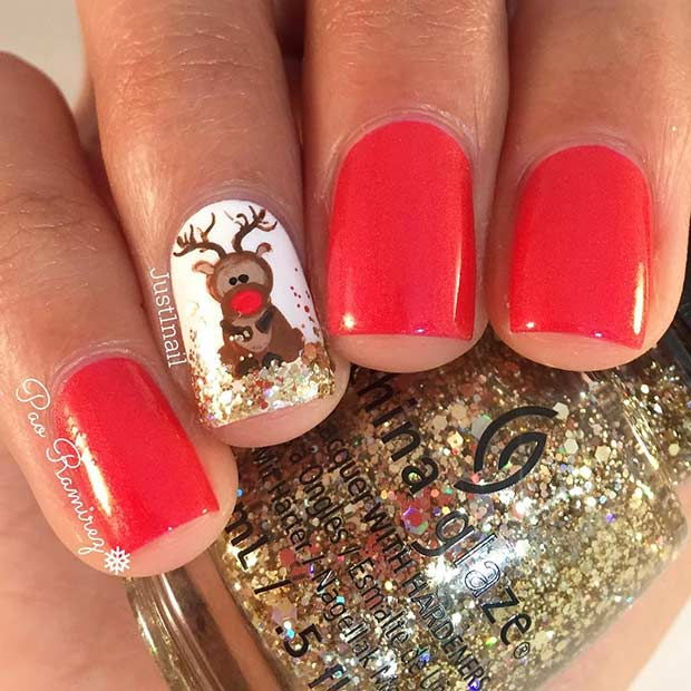 Cute Reindeer Christmas Nail Design for Short Nails