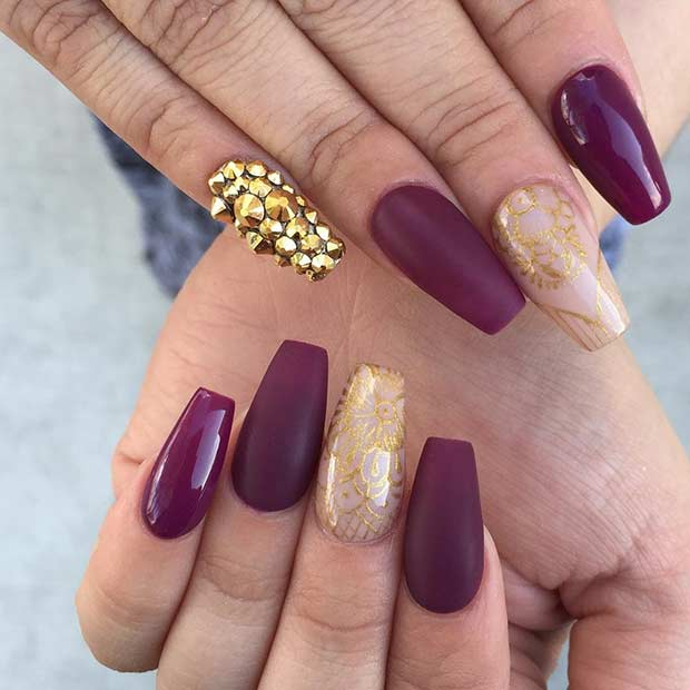 Matte Burgundy and Gold New Year's Eve Nails