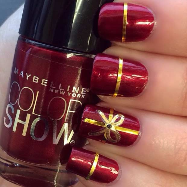 Red And Gold Christmas Present Nails