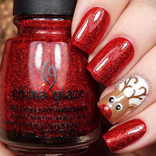 Red Reindeer Christmas Accent Nail