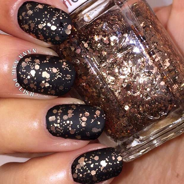 Matte Black and Rose Gold Glitter Nails for New Year's Eve