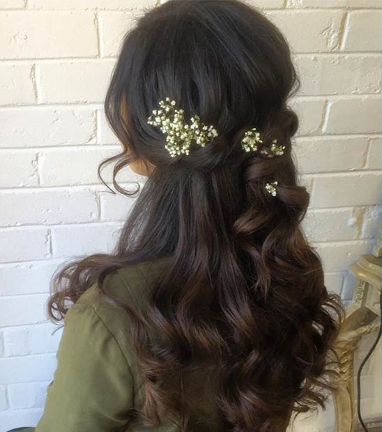 Simple Half Up Wedding Hairstyle with Baby's Breath