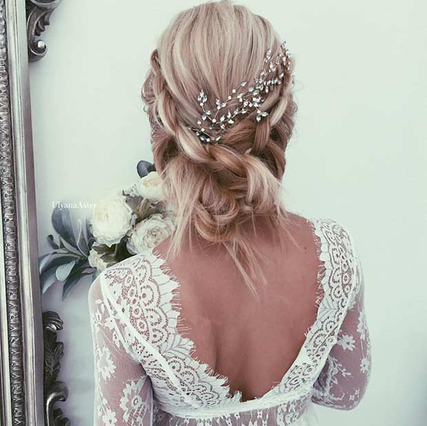 Romantic Wedding Updo with a Hairpiece