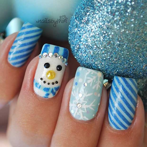 Winter Inspired Snowman Nail Design