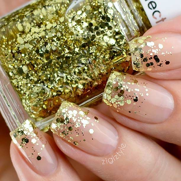 Gold Glitter Sequin Ombre Nail Design
