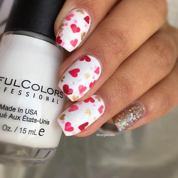 Cute Pink And Red Hearts Nail Art Design For Valentine S Day
