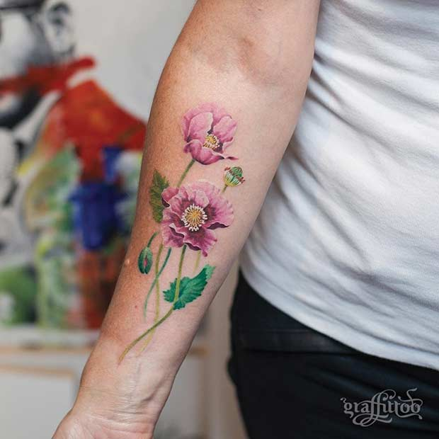 de61d662b 27 Breathtaking Watercolor Flower Tattoos - crazyforus