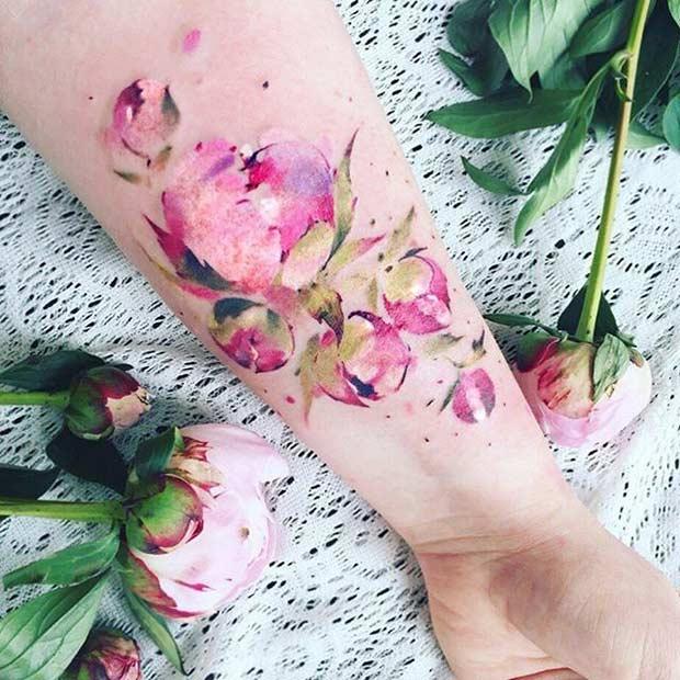 Peony Flower Watercolor Arm Tattoo Idea