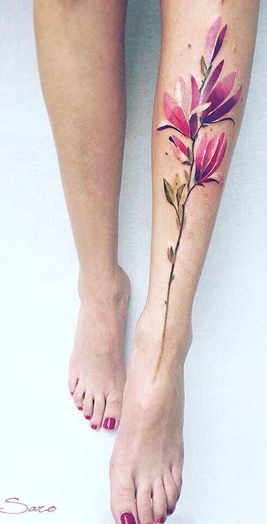 Magnolia Watercolor Flower Leg Tattoo Idea