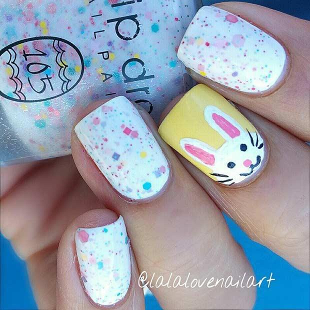 White Bunny Easter Nail Art Design