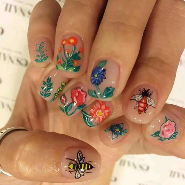 Botanical Inspired Nail Art With Plants Flowers And Insects For Spring 2017