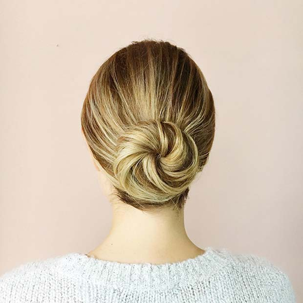 Simple Bun Hair Idea for Prom