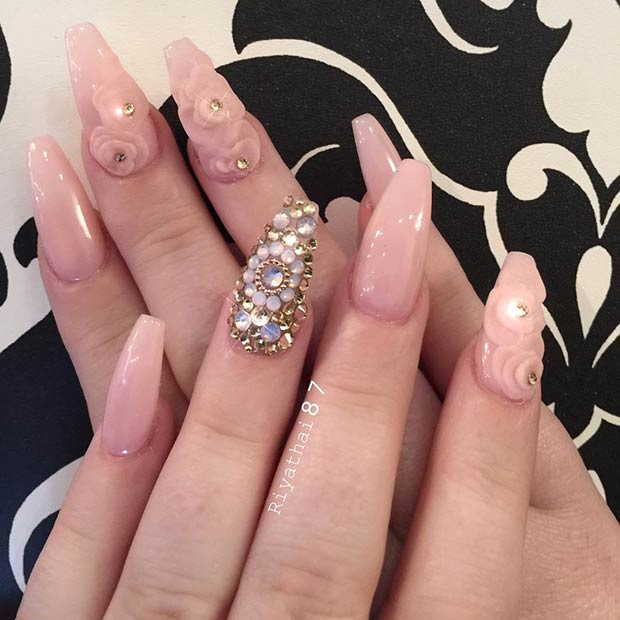 All pink Floral Coffin Nails with Rhinestones