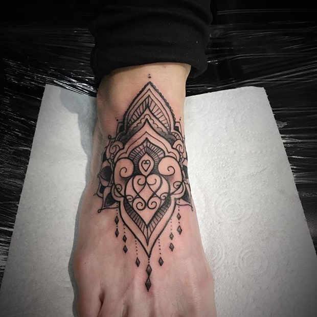 Women's Mandala Foot Tattoo