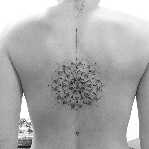 Women's Delicate Mandala Back Tattoo Idea