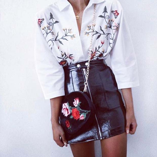 Embroidered Blouse and Bag with Leather Skirt