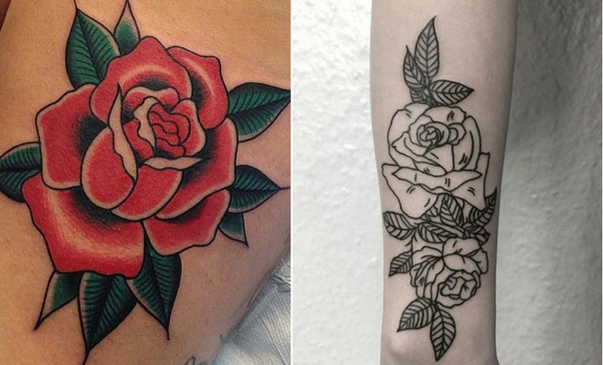 Rose Tattoo With Name On Arm